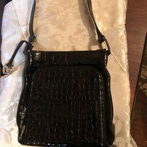 Brighton black patent croc pattern purse